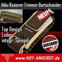 Kemei Deluxe Akku Rasierapparat Rasierer Trimmer Bartschneider integr. Spiegel Leder