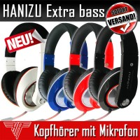 HANIZU Headset Kopfhörer mit Mikrofon Extra Bass Bügel weiche Leder Polsterung