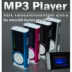MP3 Player für microSD Karten mit Taschenlampe