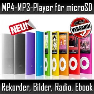 MP4-MP3-Player für microSD-Karten Sound-Rekorder Radio Spiele Ebook