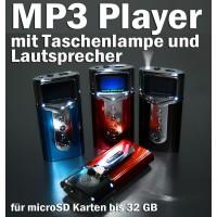 MP3 Player für microSD Karten mit Lautsprecher und Taschenlampe