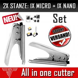 2x Stanze 1x Micro + 1x Nano Sim Karten Card Cutter Schneider für iphone Samsung