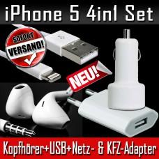 iPhone5 Set 4 in 1 Kopfhörer USB Kabel Netzteil KFZ Ladegerät