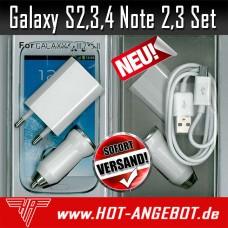 Samsung Galaxy S2 S3 S4 Note 2 3 miniUSB Set 3x1 USB Kabel Netzteil KFZ-Adapter