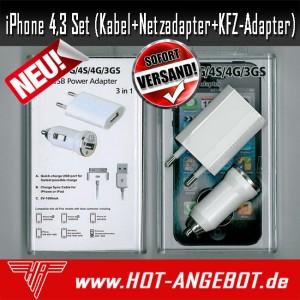 iPhone4 und iPhone3 iPhone 4 oder 3 Set 3in1 Kabel + Netzteil + KFZ-Adapter NEU