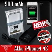 Akku 1900mAh iPhone4 / 4S iPhone 4 Power Case Ladestation Extern
