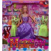 Wunderschöne Mode Puppe Prinzessin + 6 Kleider + Haarbürste + Stiefel Style Girl