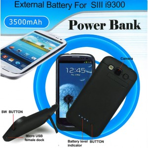 Akku 3500mAh Samsung Galaxy S3 i9300 Power Case Ladestation Extern Batterie