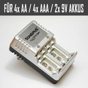 Universal Akkuladegerät für 4x AA, 4x AAA, 2x 9V Akkus Mit LED-Anzeige