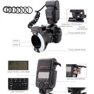 Meike MK-14EXT Makro i-TTL Ringblitz für Nikon mit LED Hilfslicht Macro ring