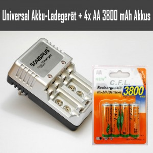 Universal Akkuladegerät für 4x AA, 4x AAA, 2x 9V inklusive 4x AA 3800 mAh Akkus