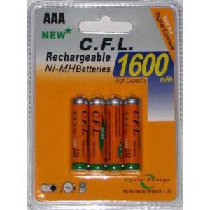 4x AAA Akkus Ni-Mh 1,2V je 1600 mAh Wiederaufladbare Batterien MIGNON Akku TV