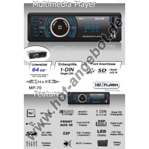 Shark MP-70 Autoradio USB SD 4x45W
