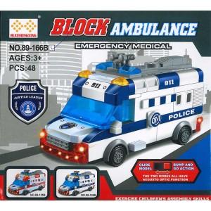 Bausteine Polizei Auto elektrisch Technik 48 Teile LED Tolles Spielzeug