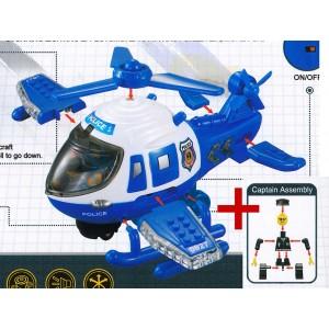 Police Hubschrauber Baukasten mit Pilot Spielzeug Bewegung Motor Ton Licht