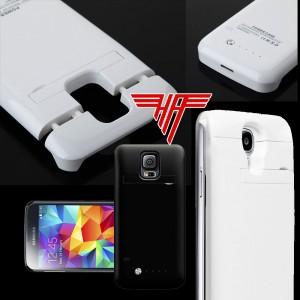 Akku Power Bank Ladestation Batterie 3800mAh für Samsung Galaxy S5 weiß