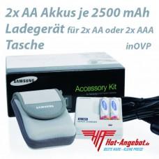 Original Samsung Power Set SNB-2312 2x AA Akkus 2500 + Ladegerät + Tasche in OVP